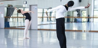 Joburg Ballet's Claudia Monja works with a senior student during the Summer School (Photo: Lauge Sorensen)