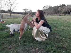 Kerry Hiles with her goats