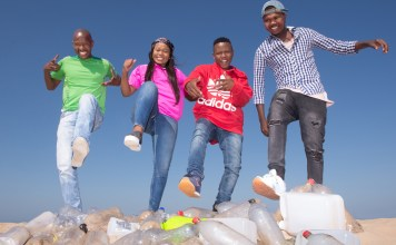 Stamping Out Marine Plastic Pollution are Thulas Luthuli, Sne Pomani, Cebo Luthuli and Mancinza Zondi from Green Corridors, the South African organisation tasked with arranging the Commonwealth Letter Programme's STOMP Awards. (Photo: Val Adamson)