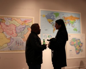 Jansen in front of Imagine Peace Maps 2
