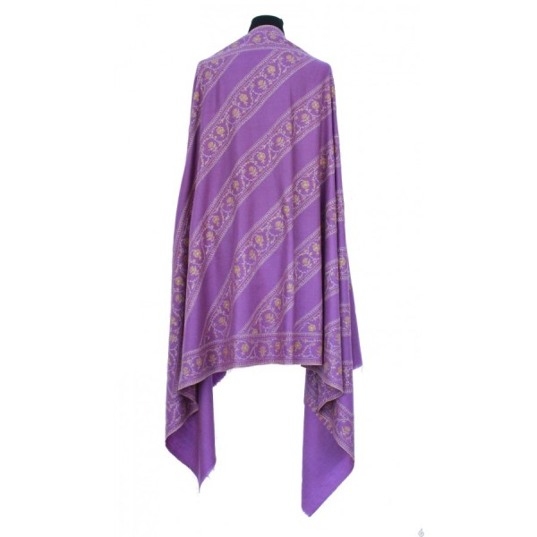 Lavender Pure Pashmina Shawl With 'jalidaar' Embroidery
