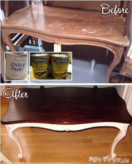 Coffee Table Before & After at ArtsyChicksRule.com