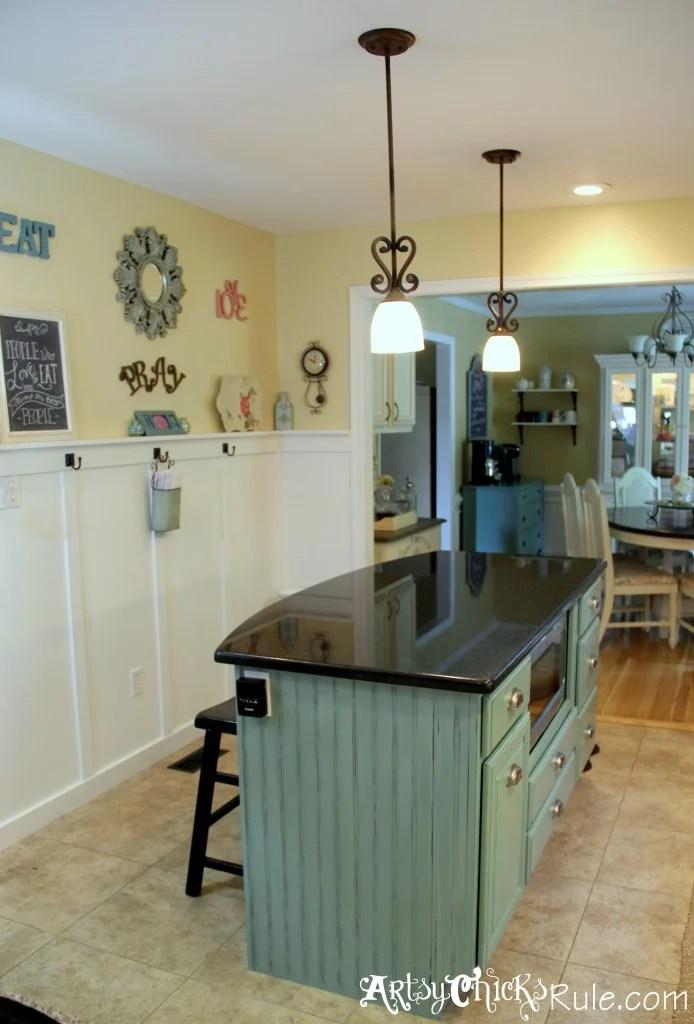 blue kitchen island lighting for makeover the easy way artsy chicks rule artsychicksrule com chalkpaint