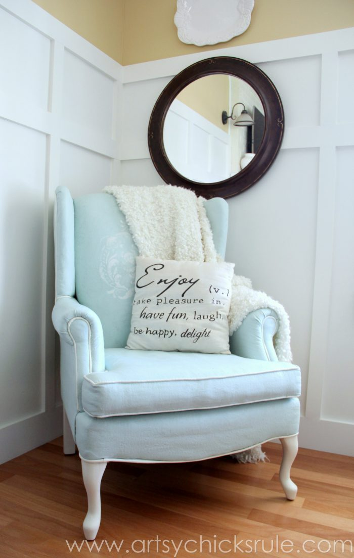 diy dining chairs makeover round wicker chair cushion painted upholstered (chalk paint) - artsy chicks rule®