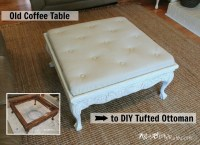 Thrift Store Coffee Table -turned- DIY Tufted Ottoman ...