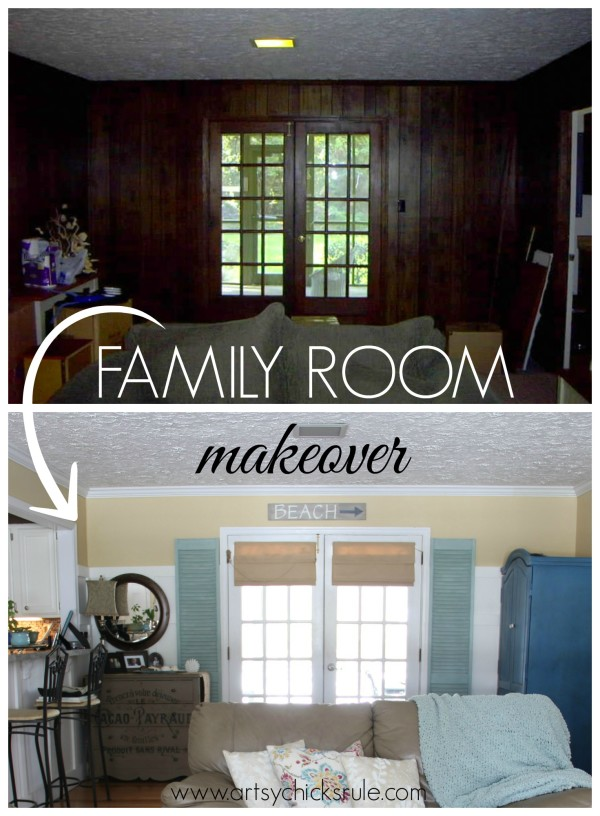 Family Room French Doors Before and After