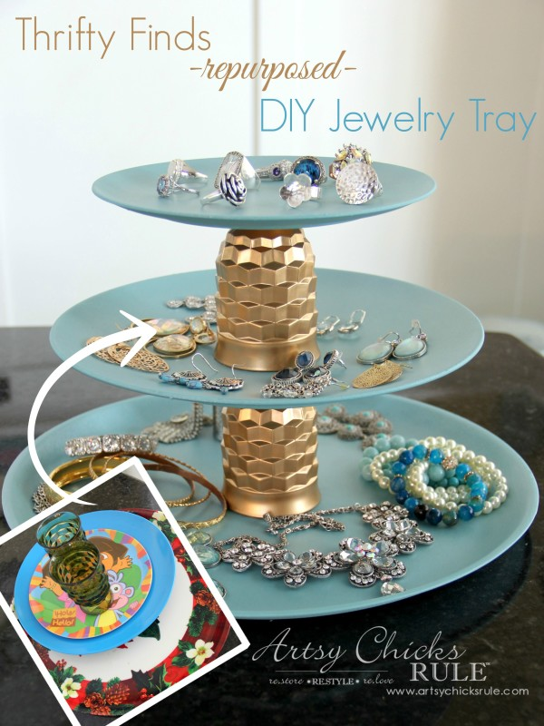 Thrifty Makeovers - Swap It Challenge - DIY Repurposed Jewelry Teired Tray - Artsy Chicks Rule