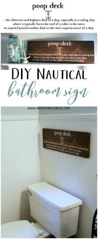 DIY Nautical Bathroom Sign - Artsy Chicks Rule