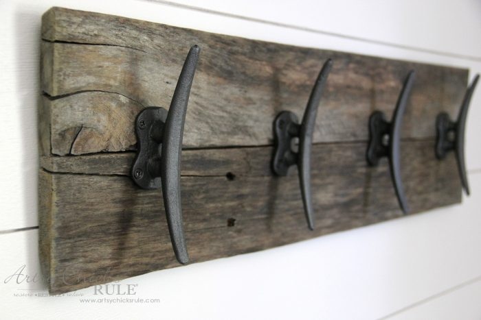 DIY Nautical Pallet Wood Coat Rack by Artsy Chicks Rule