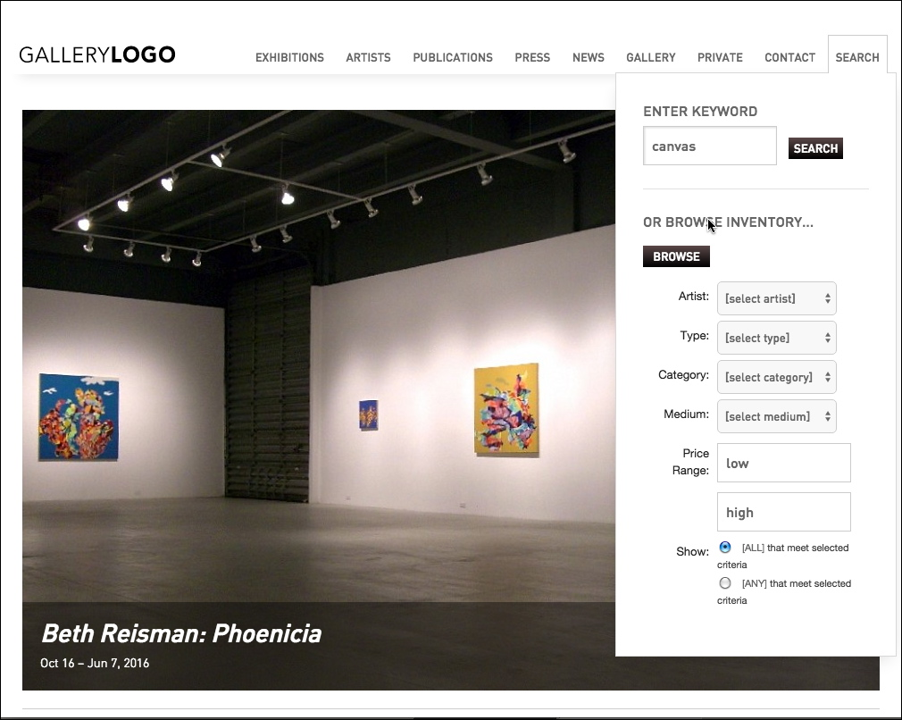 Artist Art Gallery Websites