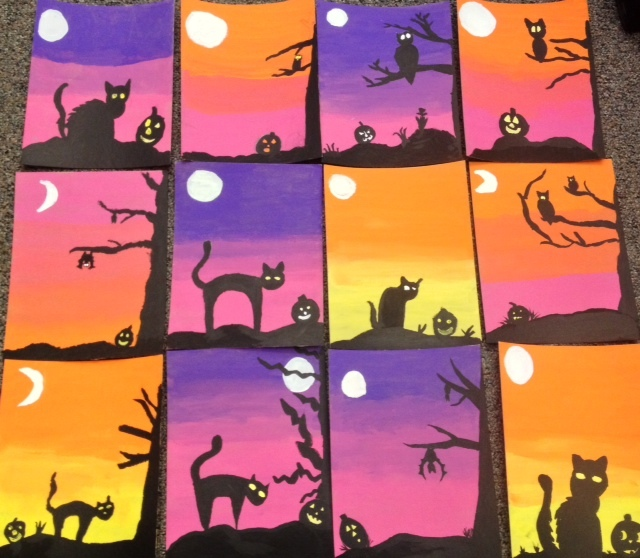 Halloween Acrylic Paintings- Spooky Silhouettes