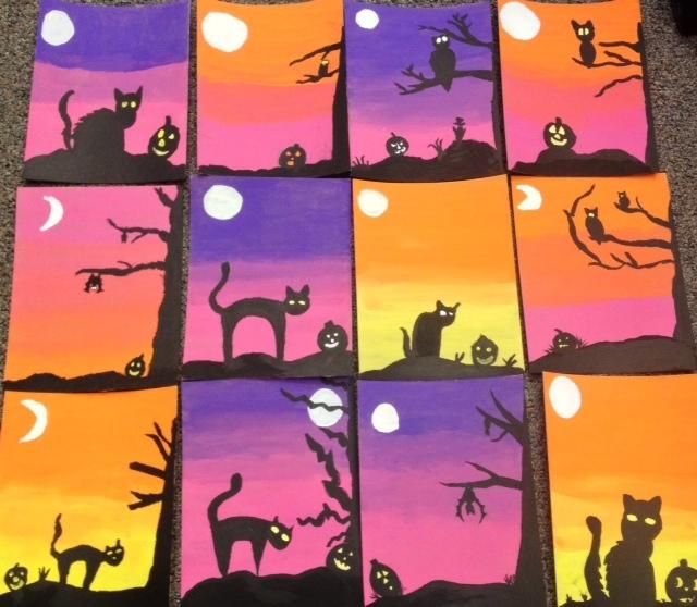 Halloween Acrylic Paintings- Spooky Silhouettes