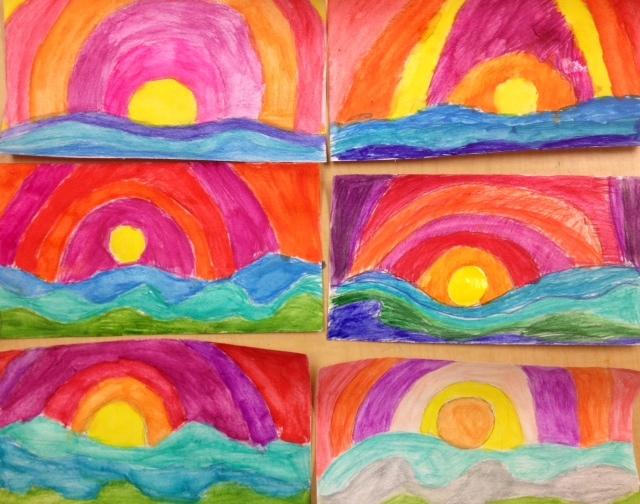 Fifth Grade Warm/Cool watercolor Landscapes