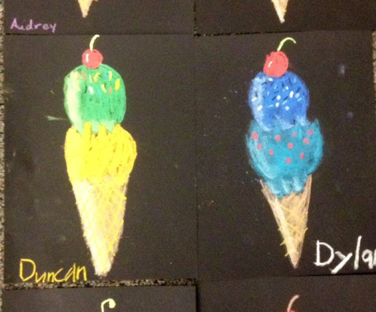Ice cream cones with values