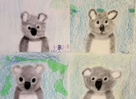 Charcoal Animal Drawings- Koalas and Pandas