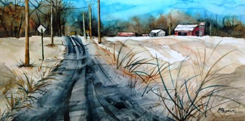 """The Road Home"" watercolor by Pat Rayman"