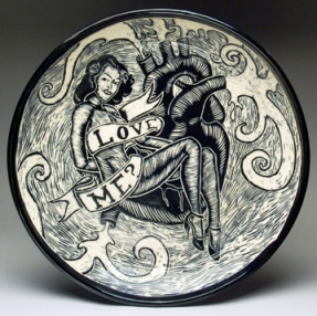 """Love Me?"" 2008, 13"" x 2"" in., plate, carved porcelain, glaze by Kathy King."
