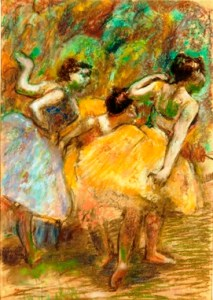 "Dancers""-ca.-1900-pastel-and-charcoal-on-tracing-paper-mounted-on-wove-paper-mounted-on-board-by-Edgar-Degas."