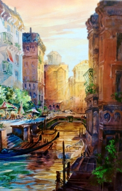 """Venice Glow"", watercolor by Tom Lynch."