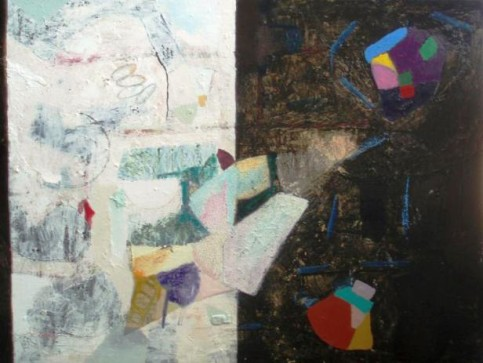 """Duality Series II"", mixed media on canvas, 48 in. x 36 in. by Francis Scorzelli."