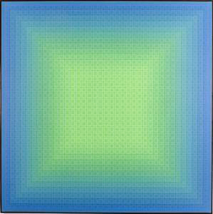 """It's Not Easy Being Green, 1980-2000, acrylic on canvas, 57 inch x 57 inch was created in three layers using twenty-five colors. The artist began by applying the color on the outside squares and worked his way in from the edges to the center. Next, he articulated the ""windows"" or ""frames,"" again slowly modifying the colors inward from the exterior. His final step in creating the glowing canvas was to paint the top small squares. Stanczak notes that he intends his centralized compositions as invitations to his viewers, yet offers few pathways for the eye to follow. While the ""eye and the brain always demand a point of rest,"" Stanczak ""gives the viewer everything at once."" The visual overload and inability of the eye to focus on one area induces the optical phenomenon of the pulsating ""X"" that emerges at the center of the canvas."