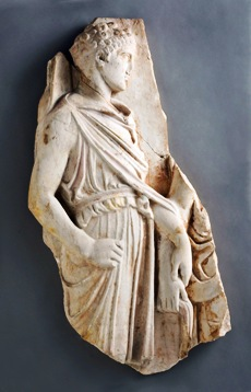 The relief on view at GMOA is one of a few Roman replicas of the original Greek work and the only replica known still to contain remnants of its ancient coloration, the focus of study while it has been in Athens. Although today's museum visitors expect ancient Greek and Roman marble sculptures to be pure white, they were originally vibrantly painted.