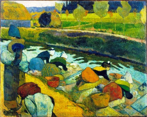 """Washerwomen"", Arles 1888, oil on burlap, 29 7/8 x 36 1/4 inches, by Paul Gauguin, French, 1848-1903, William S. Paley Collection."