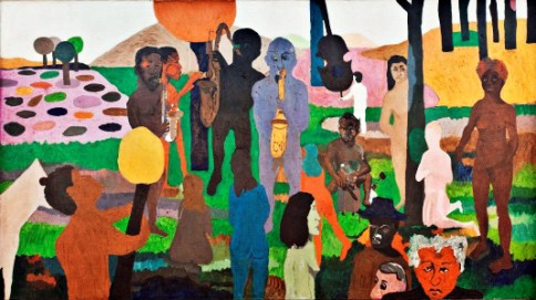 "By Bob Thompson, ""Garden of Music"", 1960, oil on canvas, 79 1/2 x 143 in., Wadsworth Atheneum, Hartford, Connecticut, The Ella Gallup Sumner and Mary Catlin Sumner Collection; courtesy of Michael Rosenfeld Gallery LLC, New York, New York."