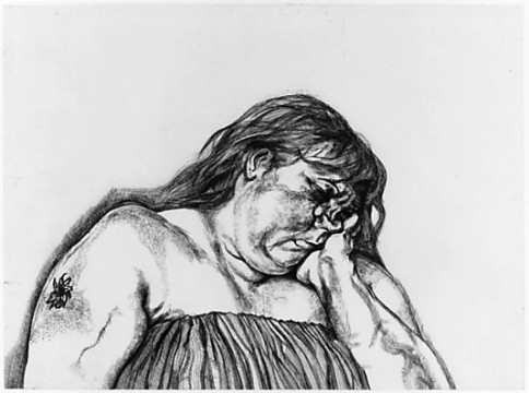 """""""Woman with an Arm Tattoo"""", 1996, Etching on white Somerset textured paper, 23 ½ x 32 ¼ inches, by Lucian Freud (British, 1922-2011)."""