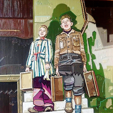 """The Kinder Transport, Safe at Last"" (detail) 2013, oil on linen, 24x24 inch, by Julie Roberts."