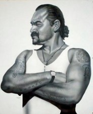 """""""Un Veterano Chingon"""", 2006 by Gaspar Enriquez, acrylic on paper, 57 x 52 inches, framed, collection of Paul and Suzanna Dipp."""