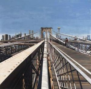 """Brooklyn Bridge,"" 1991, oil on canvas, 84 by 84 inches. Private collection. ©Richard Estes, courtesy Marlborough Gallery, New York."