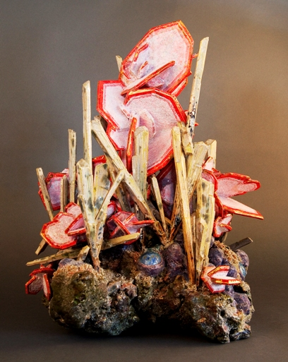 Wulfenite with Cerussite, Stellenite, Botryoidal Plumium,ceramic by Renée Brown.