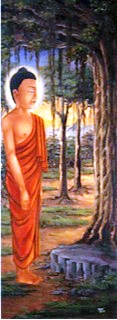 """Buddha Before The Bodhi Tree"", oil on canvas  45 x 28 inches, by P T Lama."