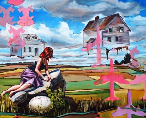 """Transplant"", 2014, oil on canvas, 60 x 48 inches, by Desy Schoenewies."