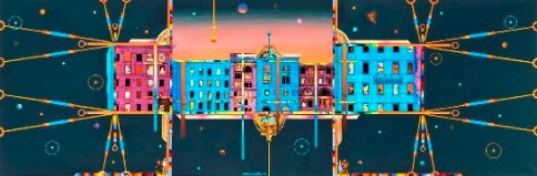 """""""Urban Evening"""", mixed media, 9 ½ x 28 inches, by Maurice Papier."""