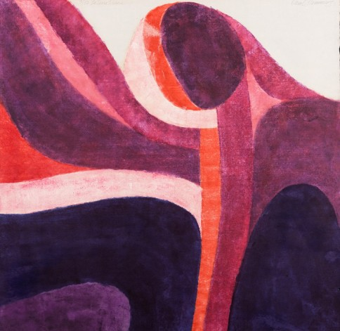 """La Terra Trema"" (The Earth Trembles), 1963;  by Carol Summers (American, born 1925); color woodblock print on paper; sheet (/image): 36 1/8 × 37 in. (91.8 × 94 cm.); Des Moines Art Center Permanent Collections; Photo by Rich Sanders, Des Moines."