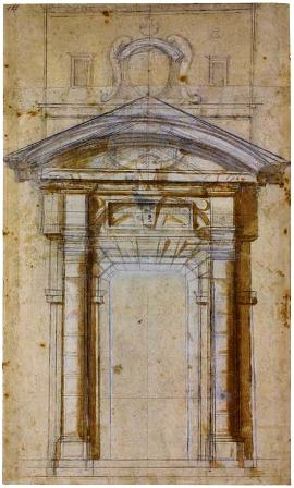 Michelangelo Buonarroti. Study for the Porta Pia in Rome, ca. 1561. Black chalk, pen and ink with brown wash, white heightening. 470 x 280 mm. Casa Buonarroti, Florence, inv. 102A.