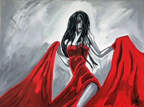 """""""Lady in Red"""", acrylic, canvas, 18 x 24 inches, by Terry Barnhart."""