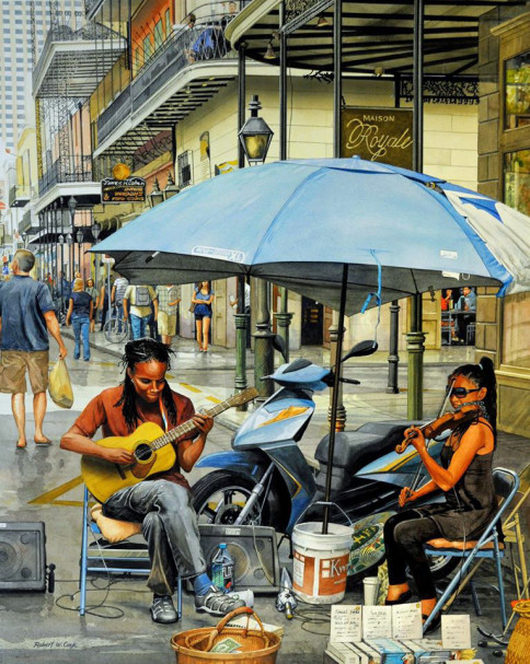 """Royal Street Duet"", watercolor, 20 x 30 inches, Robert W. Cook."