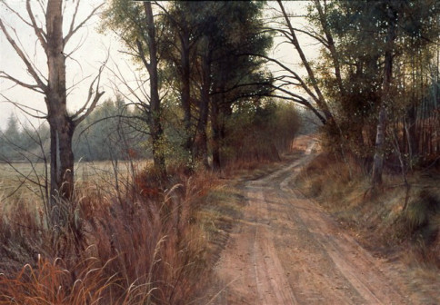 """""""September Shadows"""", egg tempera on paper, 24 x 38 inches, Stan Miller."""