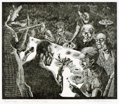 """""""Church Supper,"""" n.d. Wood engraving on paper, by Frank Hartley Anderson (American, 1891–1947), Georgia Museum of Art, University of Georgia; Gift of Martha Fort Prince in memory of Frank Hartley Anderson. GMOA 2008.27"""