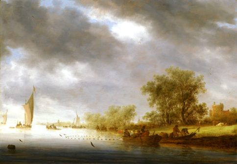 """""""River landscape with boats and Liesvelt Castle"""", 1641, oil on panel, by Salomon Jacobsz van Ruysdael, Wadsworth Atheneum M useum of Art, The Douglas Tracy Smith and Dorothy Potter Smith Fund, and The H. Hilliard Smith Fund, 2016.4.1"""