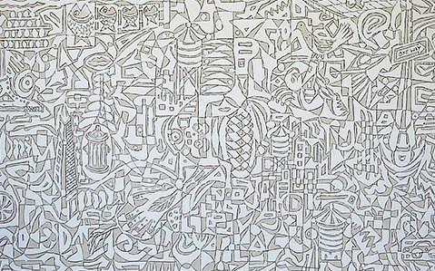 """""""The Longest Road I"""" by Victor Matthews,  acrylic and oil wax pencil on canvas,  72 x 108 inches, 2016. (One of several in a series)"""