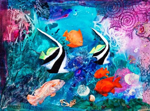 """Aquarium"", mixed media acrylic collage on illustration board, 15 x 20 inches, by Nita Leland."