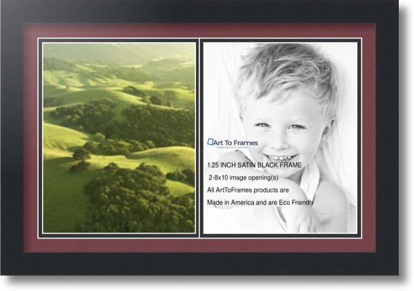 Satin Black Collage Frame With 2 - 8x10 Opening