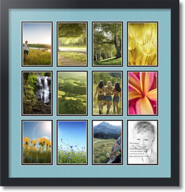 Satin Black Collage Frame With 12 - 4x6 Opening Double Matted