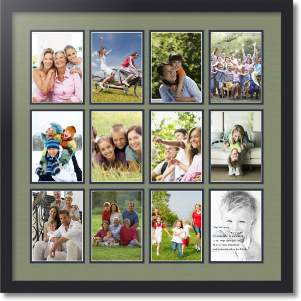 Satin Black Collage Frame With 12 - 5x7 Opening Double Matted
