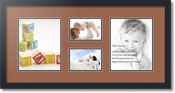 Satin Black Collage Frame With 2 - 4x6 8x10
