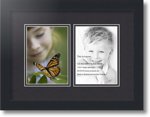 Satin Black Collage Frame With 2 - 5x7 Opening